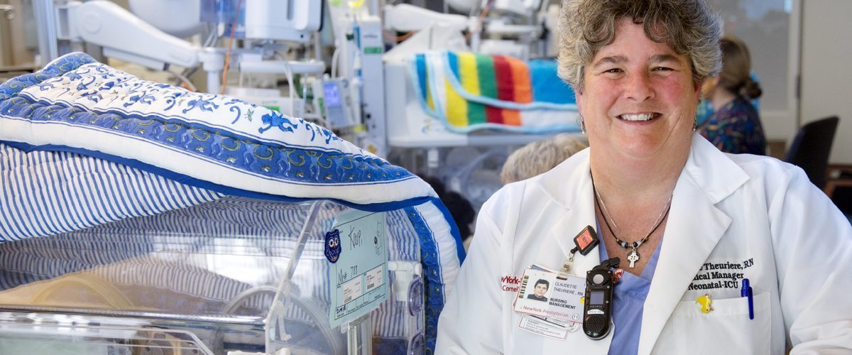 A portrait of Claudette Theuriere, a NICU nurse at NewYork-Presbyterian/Weill Cornell Medical Center