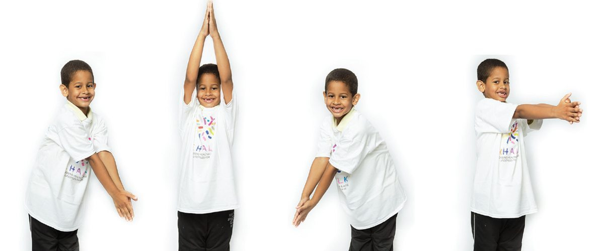 A child performing various stretching moves