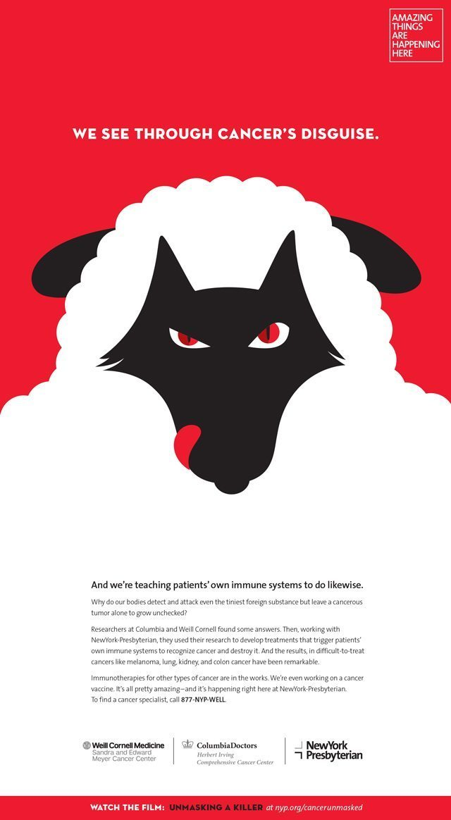 A Noma Bar ad featuring an illustration of a wolf in a sheep's clothing