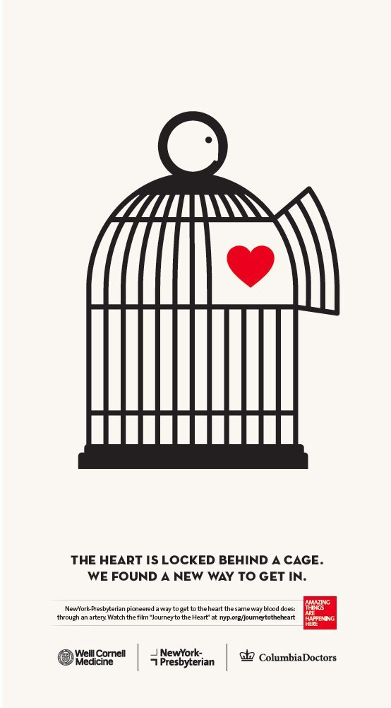 A Noma Bar ad featuring an illustrated heart inside a birdcage
