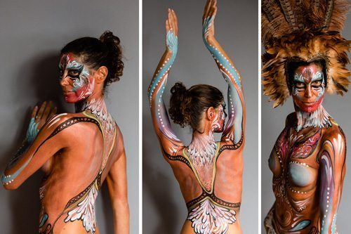 A body-painted woman in three poses