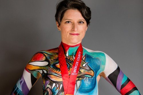 Portrait of a woman in body paint