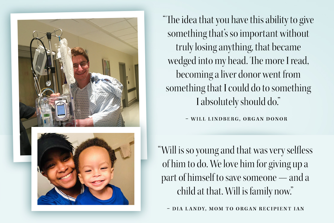 Quotes from Will Lindberg and Dia Landy about the impact of living organ donation