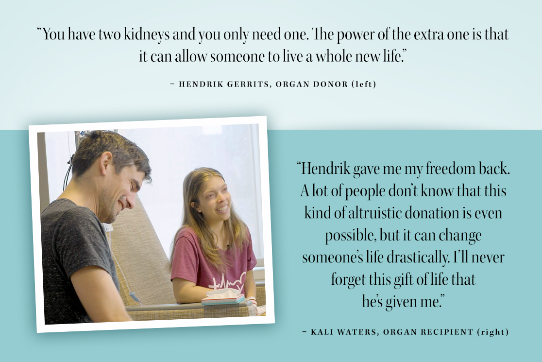 Living organ donation quote card with Hendrik Gerrits and Kali Waters