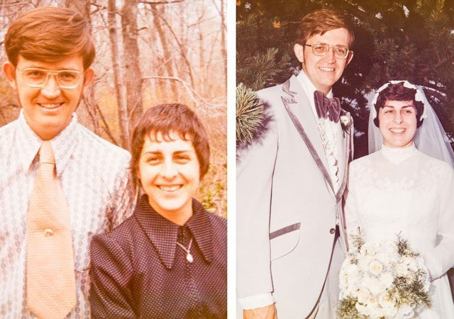 Two photos of Bill and Joan McComas when they we younger, one at their wedding
