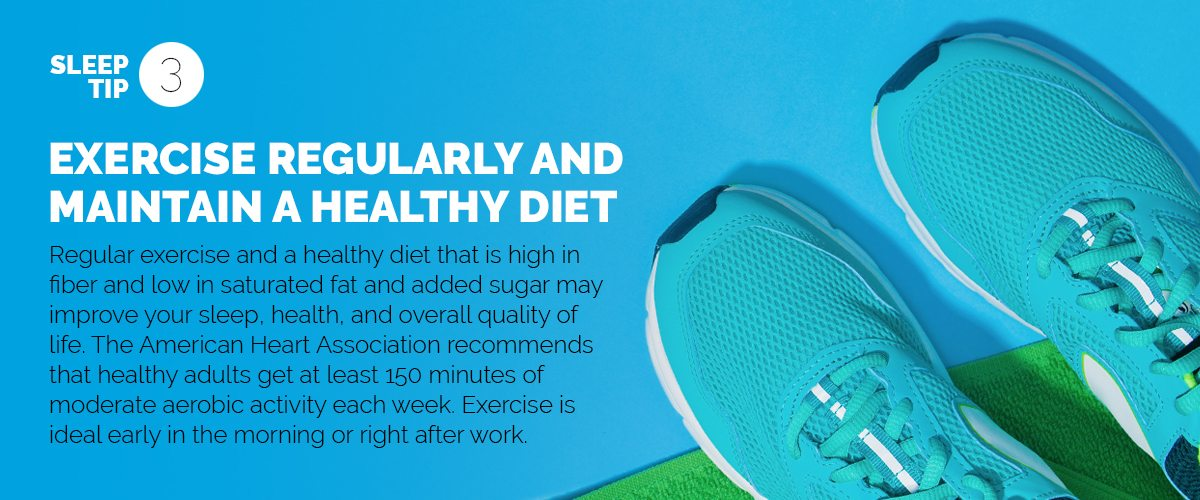 Text explaining the importance of regular exercise and a healthy diet