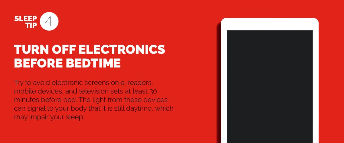 Text explaining the importance of turning off devices before bedtime