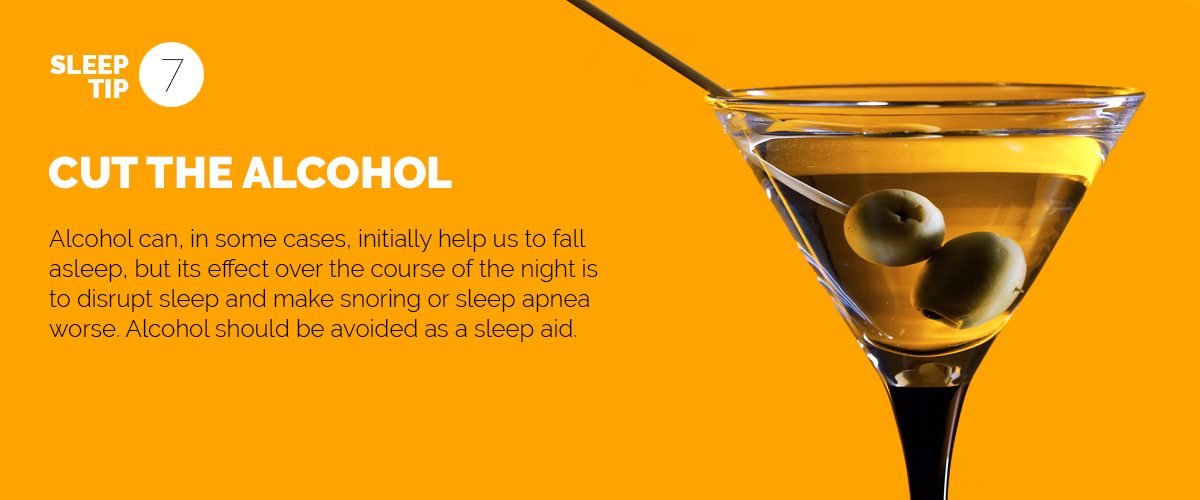 Text explaining the importance of cutting down on alcohol before bed