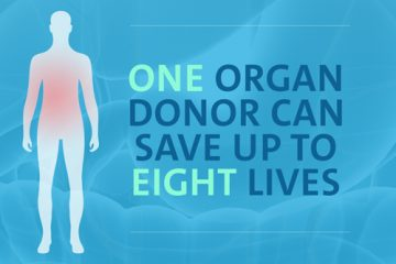 "Text saying ""One organ donor can save up to eight lives"""