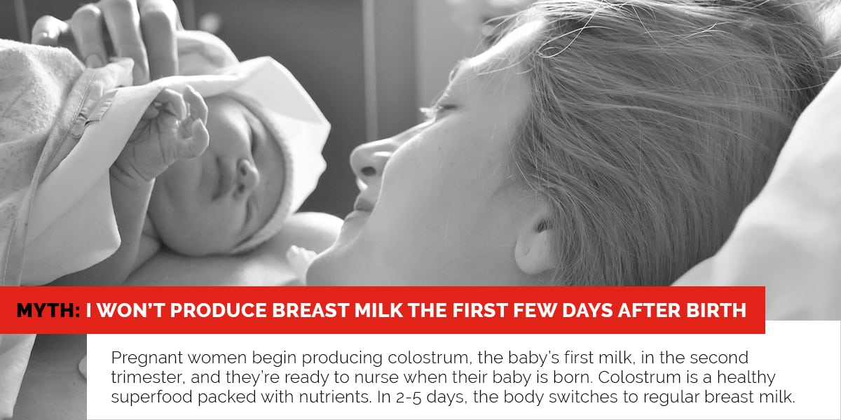 Myth: I won't produce breast mile the first few days after birth.