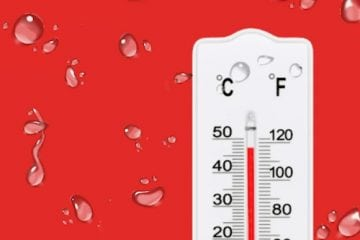 A thermometer against a red background