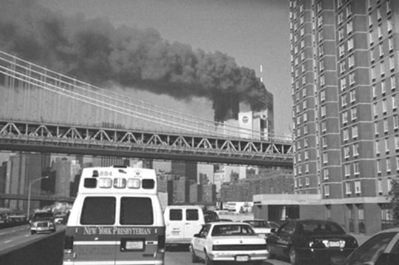 A convoy of vehicles and paramedics driving to the towers