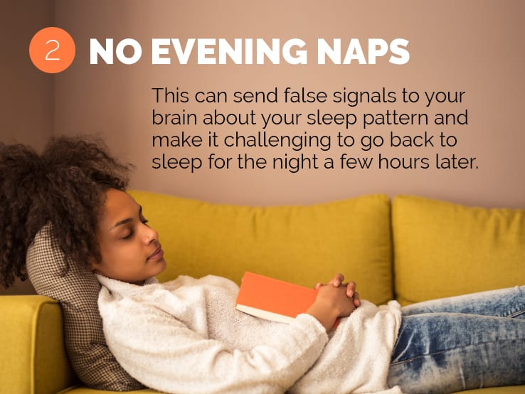 Text explaining the importance of no evening naps to help you adjust to daylight saving time.