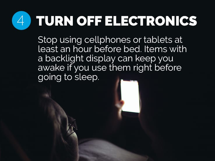 Text explaining the importance of avoiding electronics before bed to help you adjust to daylight saving time.
