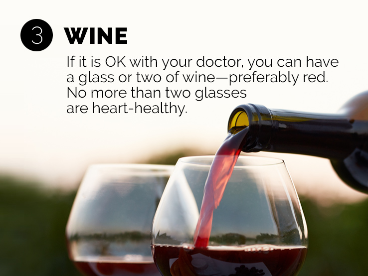 Text saying no more than two glasses of wine