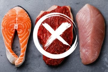 Two filets of fish and a cut of meat with an X on it