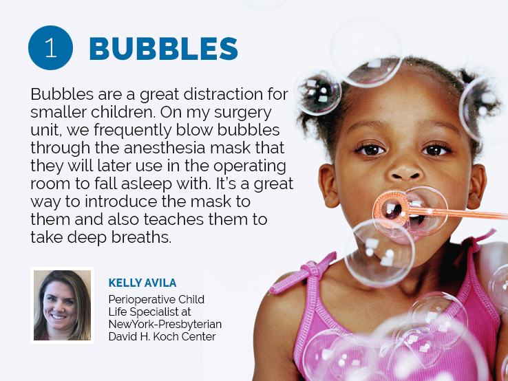Text explaining why bubbles can distract kids during their hospital stay
