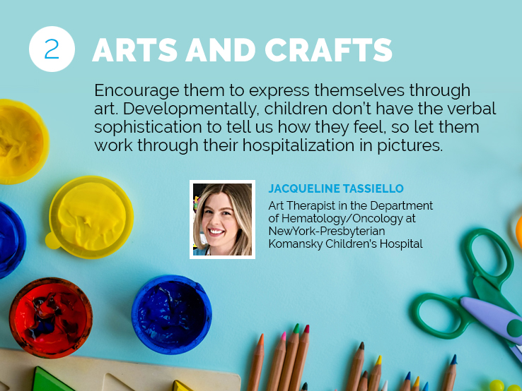 Text explaining why arts and crafts can help kids in the hospital express themselves