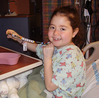 A photo of Lauren waiting for a donor heart to become available at NewYork-Presbyterian Morgan Stanley Children's Hospital