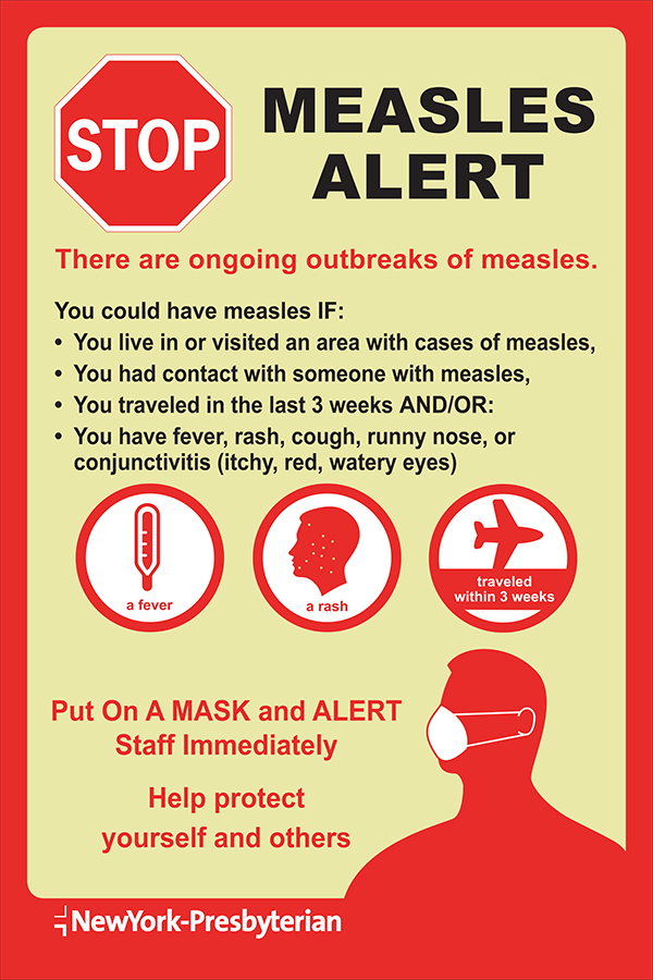 Infographic depicting a measles alert