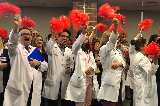 Staffers at NewYork-Presbyterian Lawrence Hospital celebrate