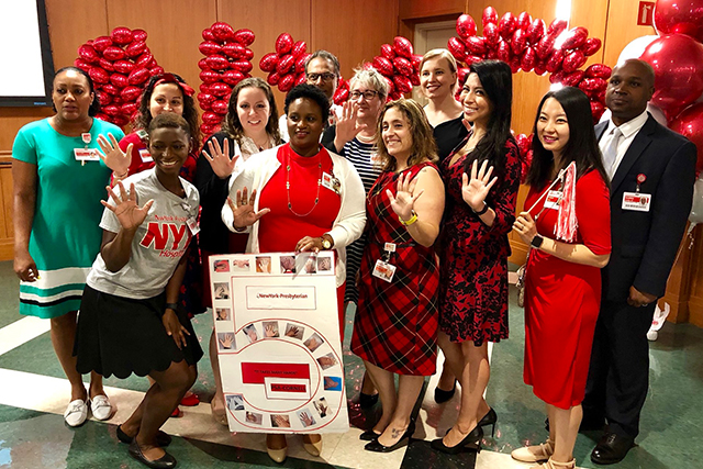 Staffers at NewYork-Presbyterian/Weill Cornell Medical Center celebrate