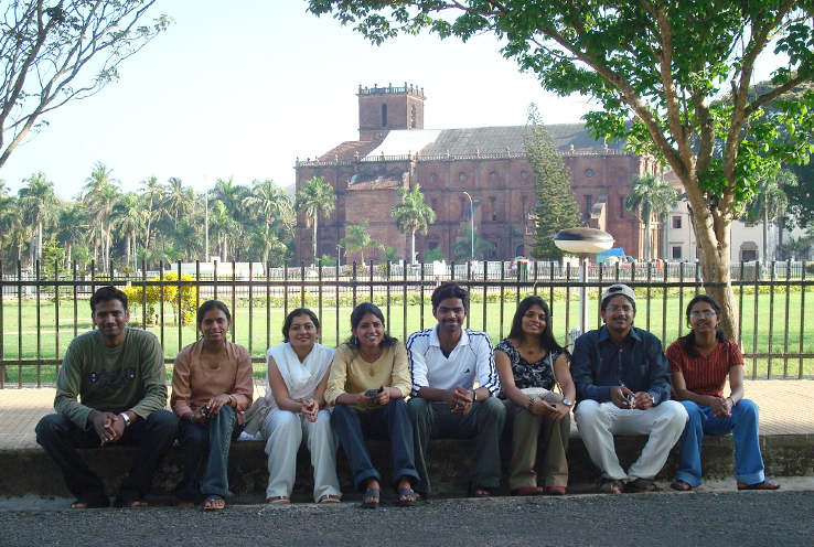 Sowmya with members of her medical school class in India