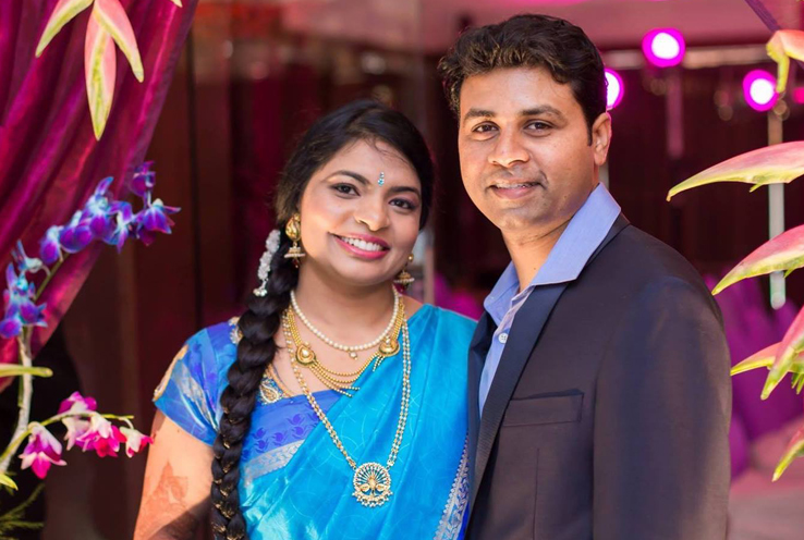 Sowmya and her husband, Dr. Vijay Gorumuchu, at their wedding in 2015