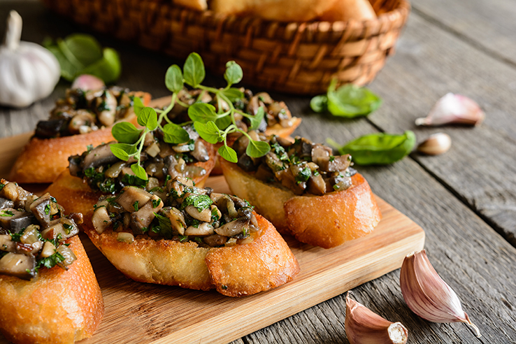 Mushroom canapes, a healthy Thanksgiving recipe.