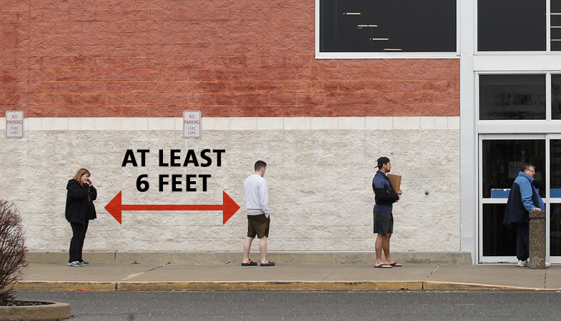 Image of four people standing 6 feet apart, with a red arrow and text indicating the distance from each other.