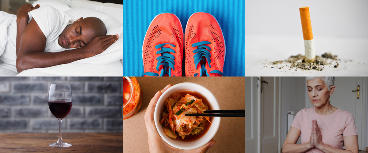 Photo grid of 6 ways to help boost your immune system