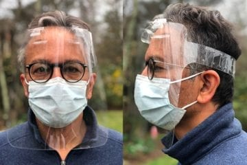 Dr. Anil Lalwani wearing a face shield designed to protect healthcare workers from coronavirus.