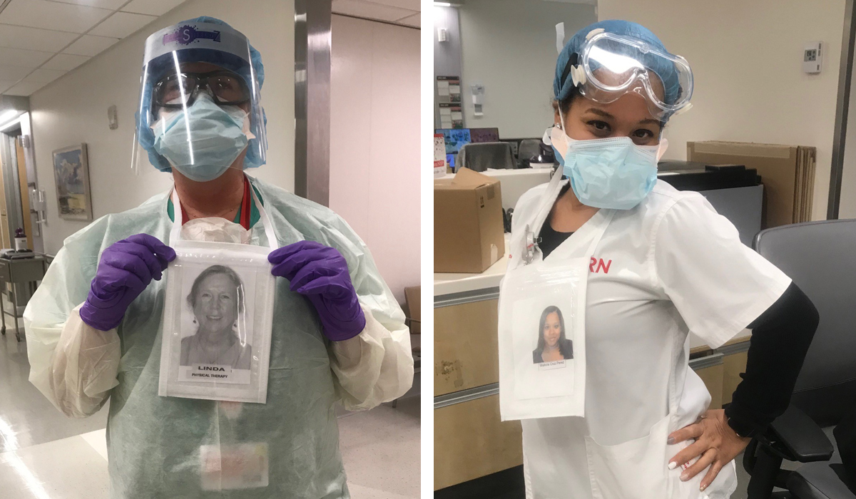 Staff with face masks and photos of themselves