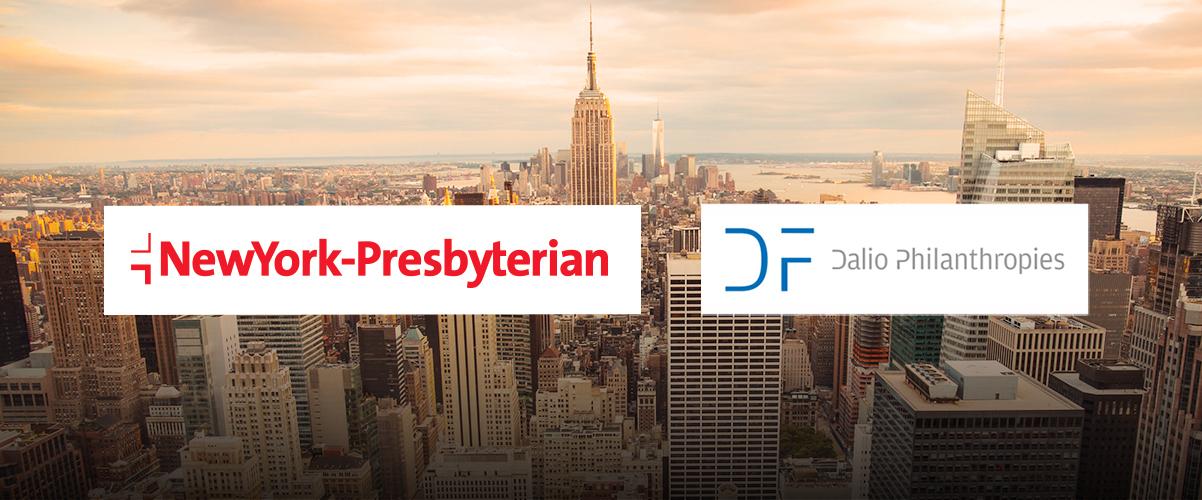 New York skyline with NewYork-Presbyterian and Dalio Philanthropies logos.
