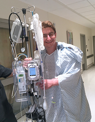 Altruistic liver donor Will Lindberg after his organ transplant at at NewYork-Presbyterian/Weill Cornell Medical Center.