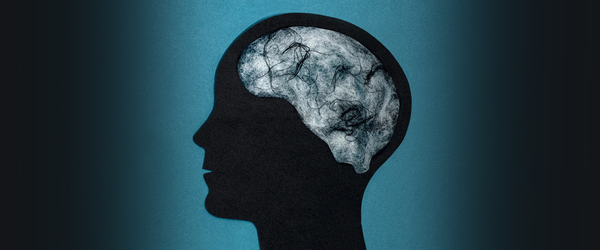 Profile of person where their brain looks like fog