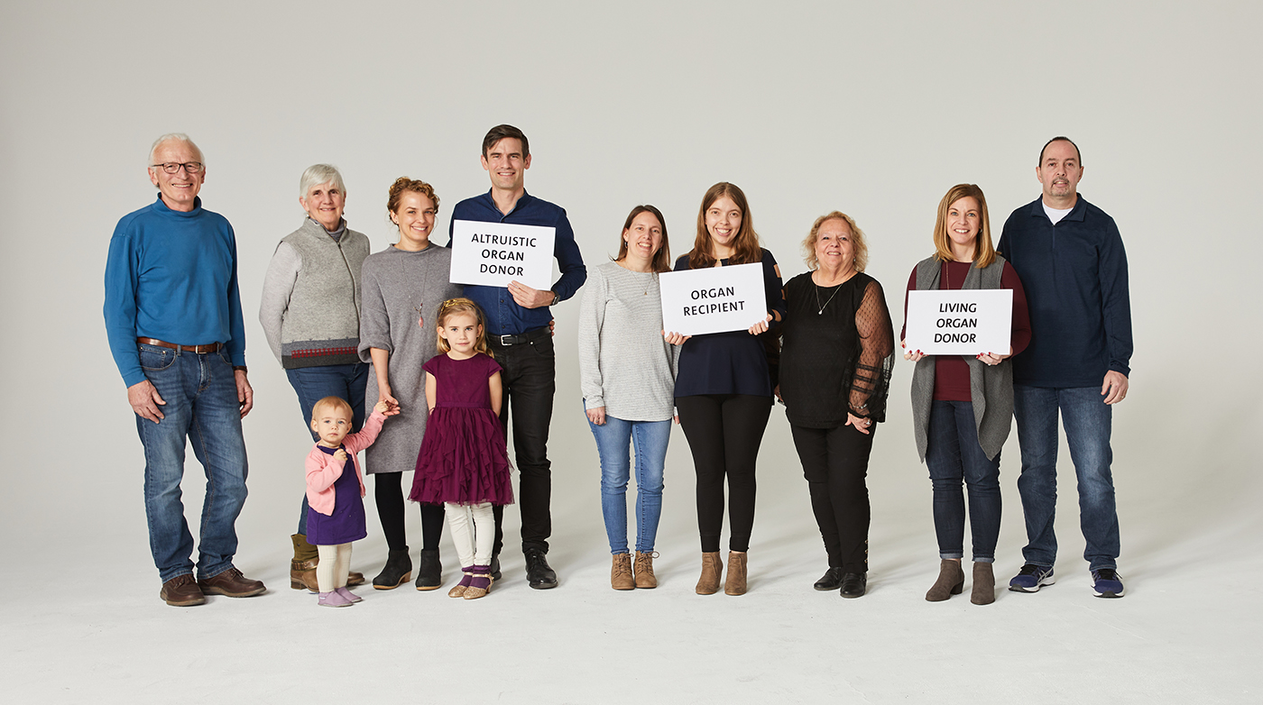 Group photo of Hendrik, Kali, Tracy with their respective families in New York City three months after their surgeries.