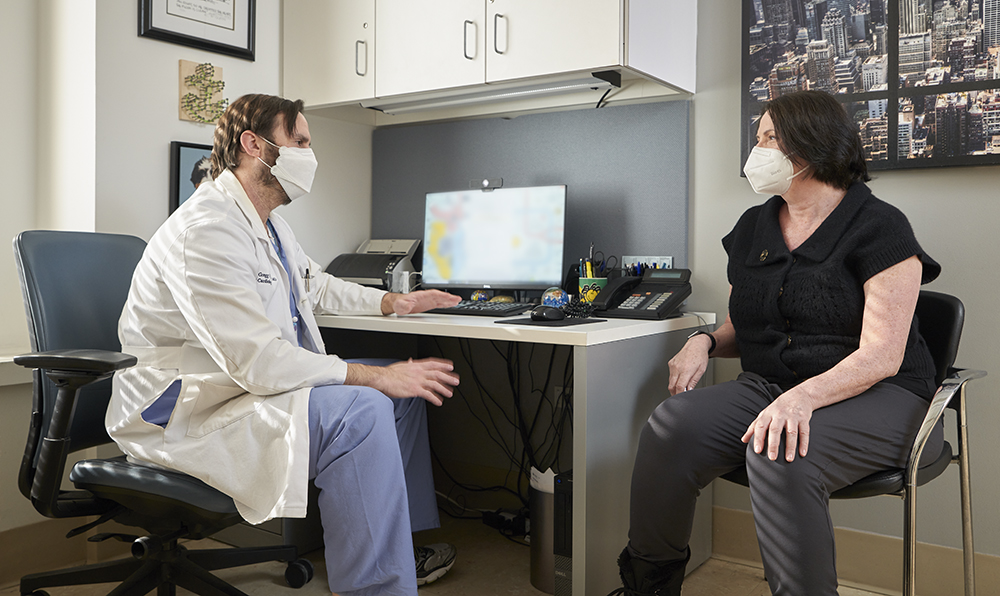 Mary Darby meets with her cardiologist, Dr. Gregg Rosner