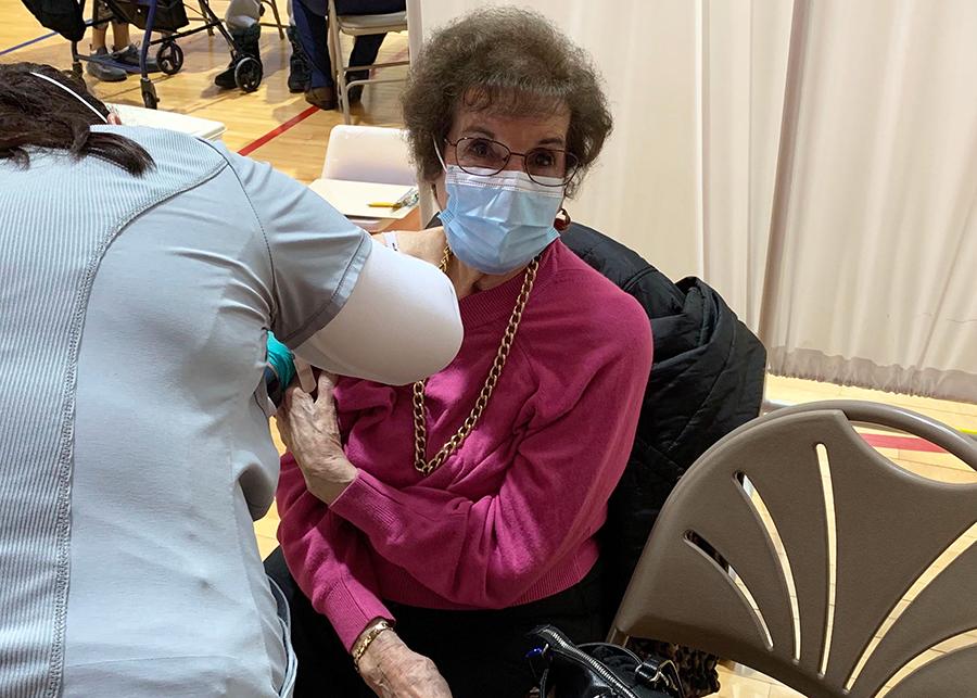 Carmela D'Uro gets her COVID-19 vaccine
